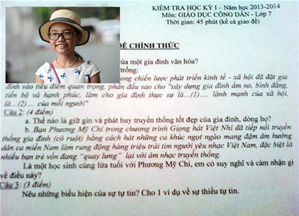 """Ngoài ra, giọng hát Việt nhí Phương Mỹ Chi cũng được """"ưu ái"""" nằm trong đề kiểm tra học kì môn Giáo dục công dân lớp 7 của một trường tại Đà Nẵng.(Ảnh Internet)"""