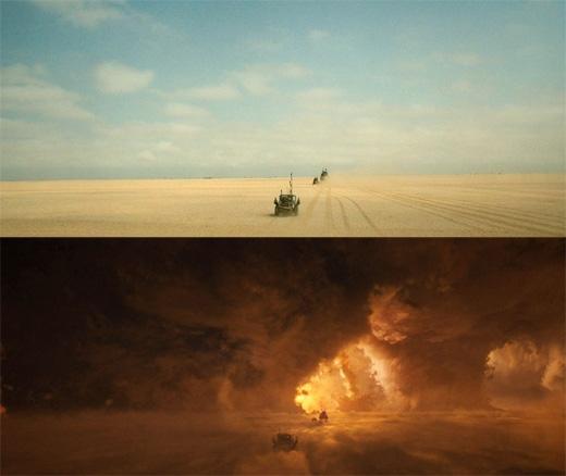 Mad Max: Fury Road: Cảnh đoàn xe rượt đuổi nhau trong bão lửa hoàn toàn là kĩxảo. (Ảnh: Bright Side)