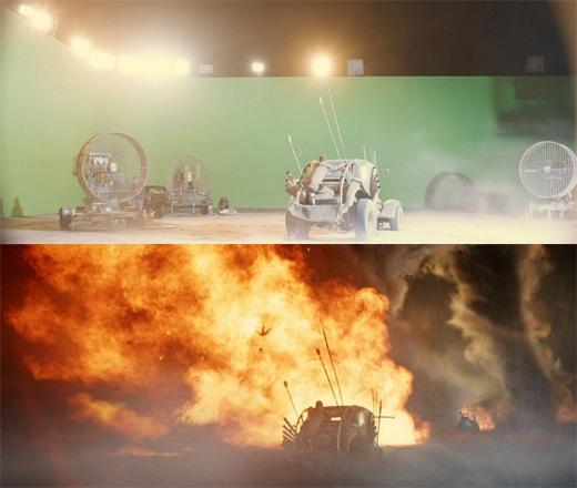 Mad Max: Fury Road: Những phân cảnh vừa chạy xe vừa đánh nhau đều được thực hiện trước phông màn xanh. (Ảnh: Bright Side)