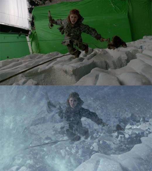 Phải nói Game of Thrones là một trong những bộ phim truyền hình được đầu tư kĩxảo nhiều nhất hiện nay vì nội dung nặng về sựkìảo và huyền bí. Điển hình là cảnh Jon Snow và Ygritte cùng đám người Du mục leo lên Tường Thành. (Ảnh: Bright Side)