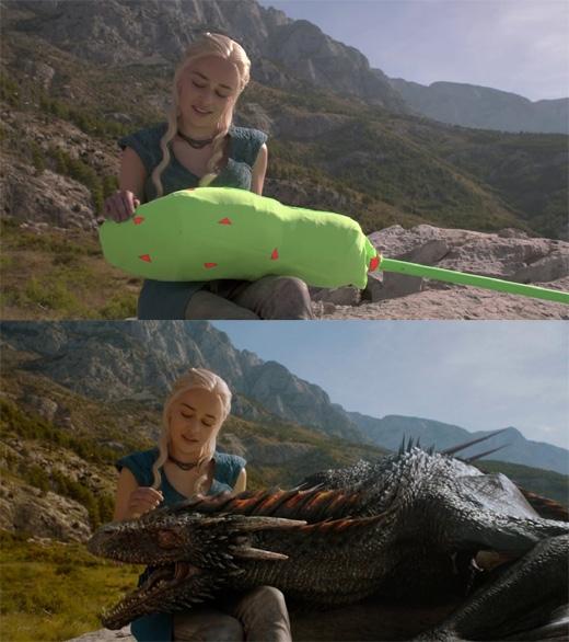 Game of Thrones: Đơn giản là người ta không có sẵn rồng để đóng phim cùng. (Ảnh: Bright Side)