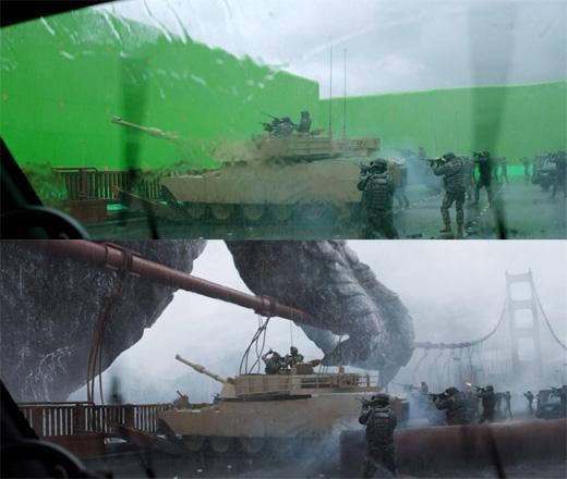 Tương tự trong Godzilla, các diễn viên phải vận dụng trí tưởng tượng để diễn cảnh chiến đấu với khủng long trước... phông nền xanh. (Ảnh: Bright Side)