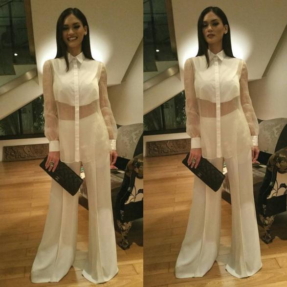 Cũng là tông màu trắng nhưng trang phục xuyên thấu kết hợp quần dài lượt thượt này trông không mấy tinh tế.