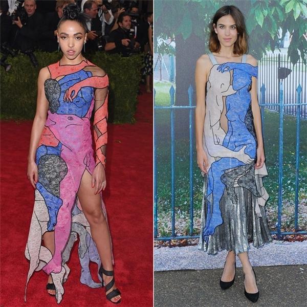 FKA Twigs và người mẫu Alexa Chung diện những mẫu thiết kế gần giống nhau của thương hiệu Christopher Kane. Khi bạn gáiRobert Pattinson mặc chiếc váy này trên thảm đỏ Met Gala 2015, cô từng bị giới phê bình chỉ trích.