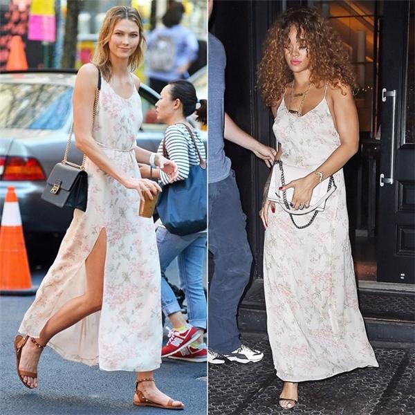 Váy ngủ vẫn là một trong những kiểu mốt được tín đồ thời trang yêu chuộng nhất trong năm 2015. Chính vì thế, Karlie Kloss và Rihanna đều yêu thích chiếc váy hoa của hãngReformation.