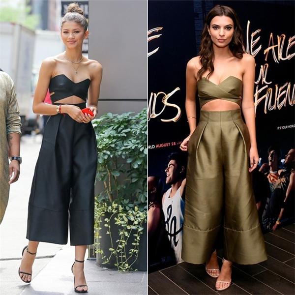 Ca sĩ tuổi teen Zendaya và siêu mẫu Emily Ratajkowski khoe vóc dáng trong bộjumpsuit thiết kế cúp ngực gợi cảm. Ngay cả cách chọn phụ kiện sandal của hai cô nàng cũng giống nhau.