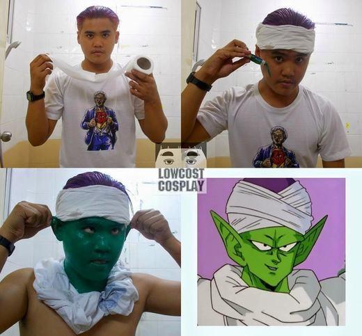 Với bột màu và giấy vệ sinh, bạn ấy đã dễ dàng biến thành Piccolo. (Ảnh: Internet)