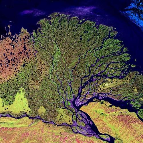 Cảnh tượng ngoạn mục hoàn toàn có thật chụp từ trên cao của vùng đồng bằng sông Lena ở Siberia.