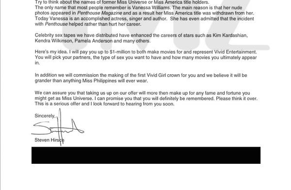 Bức thư đề nghị của Steve Hirsch gửi cho người đẹp Colombia