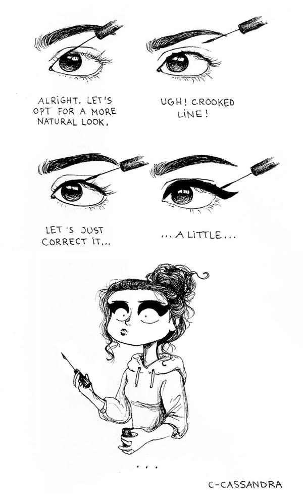 Chỉ một đường viền eyeliner thật mỏng thôi, một tí tẹo nữa thôi mà...(Ảnh: Bored Panda)
