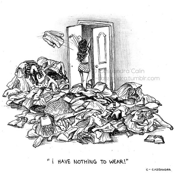 """Dù có cả một """"biệt thựquần áo"""" thì bi kịch lớn nhất của cuộc đời vẫn là không có gì để mặc.(Ảnh: Bored Panda)"""