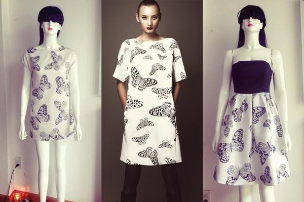 Cô còn từng công khai tiếp thị những chiếc đầm in họa tiết bướm y hệt thiết kế trong BST Butterfly (Thu-Đông 2013) của NTK Đỗ Mạnh Cường.