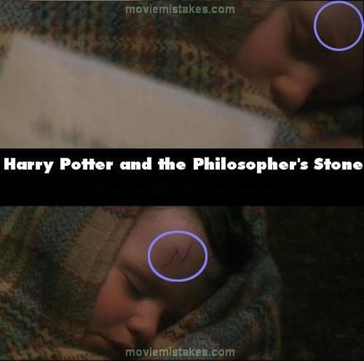 Vết sẹo hình tia chớp của Harry Potter thoắt ẩn thoắt hiện. (Ảnh: buzzfeed)