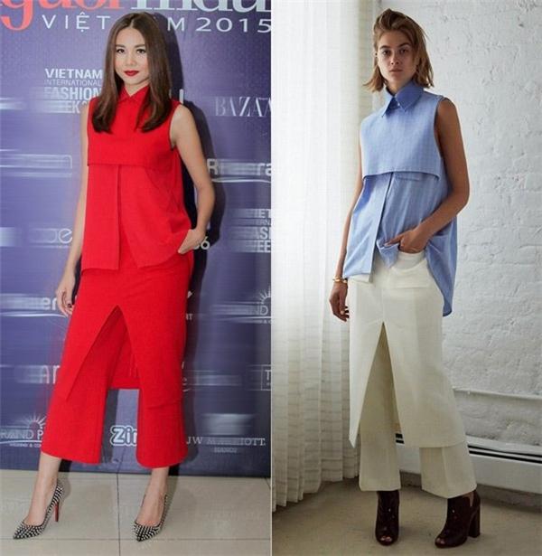 """Trang phục mà Thanh Hằng mặc khi """"cầm cân nảy mực"""" tại Vietnam's Next Top Model cũng bị cho là """"đạo"""" của một thương hiệu đến từ Australia."""