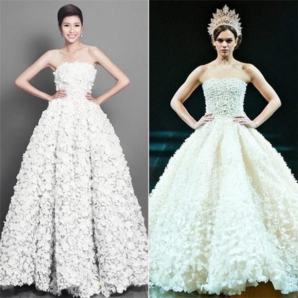 Chiếc váy hoa anh đào trắng mà nhà thiết kế Hoàng Minh Hà làm cho á hậu Thúy Vân ở Miss International cũng bị cho là có quá nhiều điểm trùng hợp với một thiết kế nước ngoài.