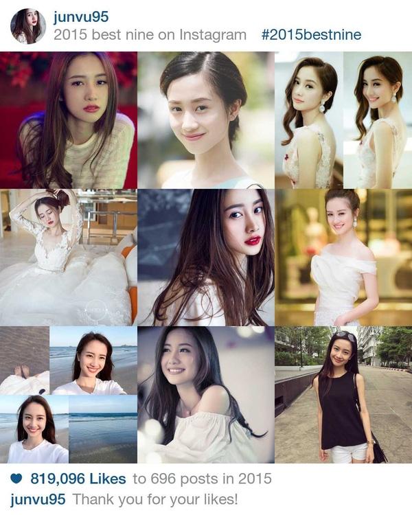 """Jun Vũlà cái tên được nhắc tới khá nhiều trong năm vừa qua. Sở hữu vẻ đẹp trong sáng như thiên thần, cô nàng hot girl này không chỉ được đông đảo bạn trẻ trong nước yêu mến mà còn là gương mặt """"đình đám"""" trên đất Thái. Mới đây, cô nàng còn được cư dân mạng nước ngoài nhận xét rằng có vẻ ngoài cực giống Angela Baby. Jun Vũ cũng đã """"thu về"""" hơn 819.000 lượt thích từ người hâm mộ trong năm 2015.(Ảnh: Instagram)"""