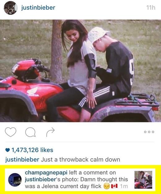 """Khi Drake nhảy vào chém gió tấm ảnh cũ mà Justin Bieber đăng tải: """"Tưởng đâu đây là phim về Jelena hiện tại chứ."""" (Ảnh: buzzfeed)"""
