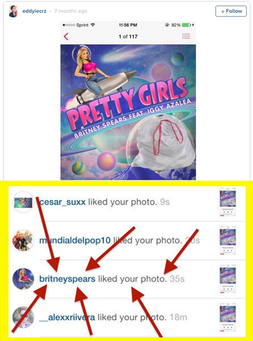 Britney Spears mắc sai lầm nghiêm trọng khi like tấm ảnh photoshop Iggy Azalea thành một bao rác. (Ảnh: buzzfeed)