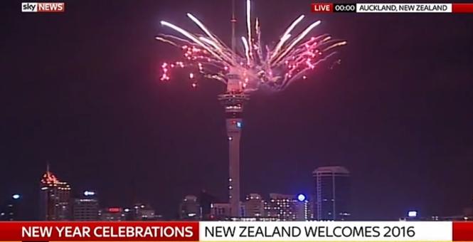 Màn pháo hoa mừng năm mới tạiNew Zealand.(Ảnh: Internet)