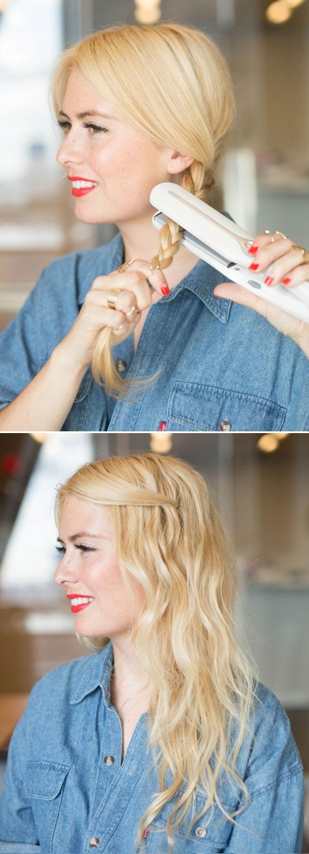 Bạn có thể thắt tóc lại và sử dụng máy kẹp để giữ nếp tóc.(Ảnh: buzzfeed)