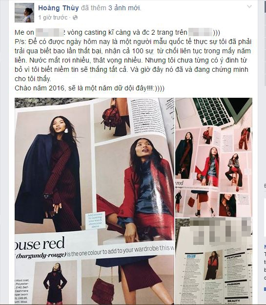Mới đây, quán quân Vietnam's Next Top Model 2011 đã chia sẻ niềm vui với khán giả, người hâm mộ trong ngày đầu năm khi xuất hiện trên một tạp chí thời trang hàng đầu ở xứ sở sương mù. Và tạp chí này cũng có phiên bản tại Việt Nam.