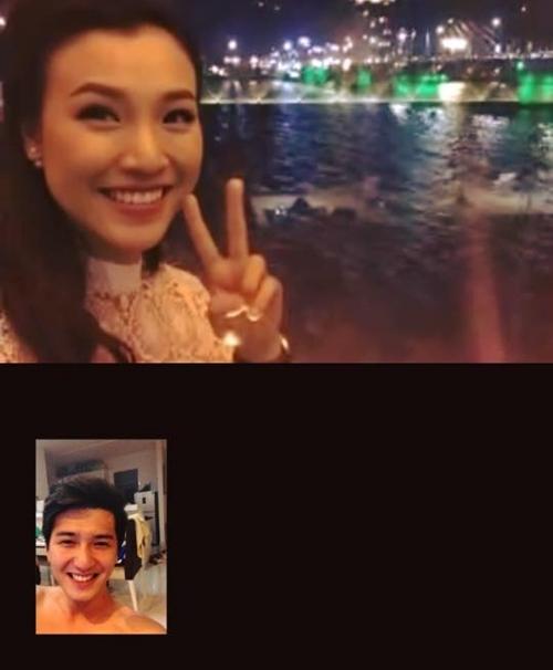 Cặp đôi Huỳnh Anh - Hoàng Oanh năm nay phải đón giao thừa xa nhau. Vì vậy, cặp đôi đã facetime với nhau.
