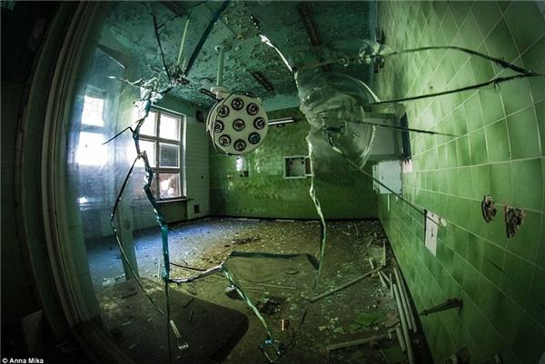 Đằng sau ô cửa kính vỡ trong một bệnh viện cũ ở Ba Lan là cả một thế giới kì thú bị bỏ hoang hàng chục năm.(Ảnh: Daily Mail)