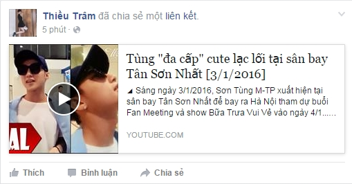 Thiều Bảo Trâm chia sẻ đường link youtube về Sơn Tùng do fan quay lại. - Tin sao Viet - Tin tuc sao Viet - Scandal sao Viet - Tin tuc cua Sao - Tin cua Sao