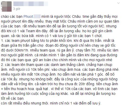 Lời nhắn nhủ của 1 thanh niên tự nhận là người dân Mộc Châu tới dân phượt.