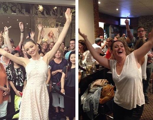 Học hỏi Miranda Kerr cách chụp ảnh giữa đám đông.(Ảnh: Celeste Barber)