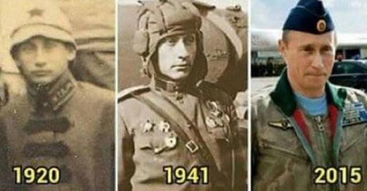 Nếu mới thoáng nhìn, có thể bạn sẽ tưởng lầm 3 bức ảnh trên đều của Tổng thống Nga Vladimir Putin. Tuy nhiên, hình ảnh hai người đàn ông chụp năm 1920, 1941 đều là hai người hoàn toàn khác nhau, chỉ có điều là họ đều trông rất giống với vị nguyên thủ của nước Nga hiện nay, nhiều người băn khoăn không biết vì sao lại có sự giống nhau đến lạ lùng như vậy.Tổng thống Nga sinh năm 1952, đến nay ông đã 63 tuổi. (nguồn ảnh: internet)