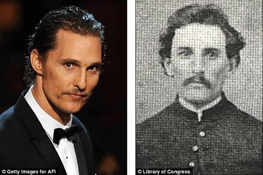 Ảnh trái làMatthew McConaughey, ngôi sao của bộ phimDallas Buyers Club. Còn bên phải là một sĩ quan thời xưa. (nguồn ảnh: internet)