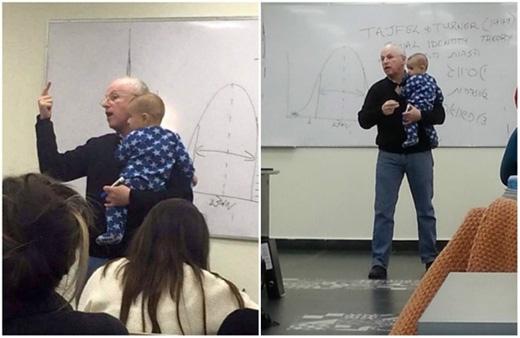 Sydney Engelberg, một giáo sư đại học tại Israel, vừa giảng bài vừa bế con cho một sinh viên trong lớp sau khi em bé bật khóc. (Ảnh: Internet)