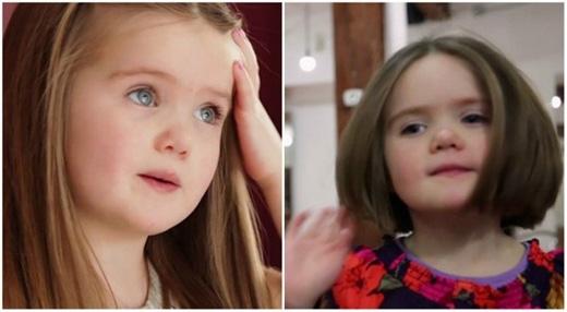 Em bé này nuôi tóc dài để tặng cho những người bị ung thư. (Ảnh: Internet)