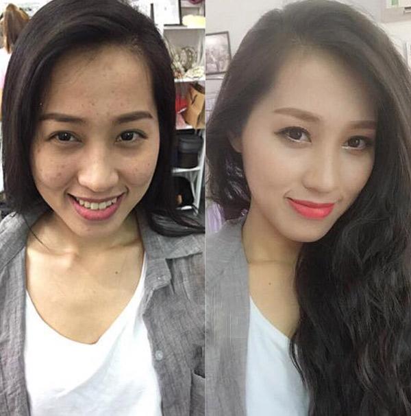 Chỉ cần biết trang điểm một chút là những đường nét trên gương mặt đã rất khác rồi. Các cô gái hoàn toàn có thể tựtin hơn với một diện mạo mới. (Ảnh Internet)