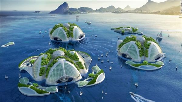 """Có hình dáng như một con sứa biển, mỗi ngôi """"nhà đại dương"""" này được xây dựng từ nhựa tái chế. Vincent dự định sẽ gọi tên những khu dân cư này là lục địa thứ bảy (Seventh Continent).(Ảnh: CNN)"""