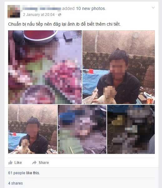 Những bức ảnh giết khỉ được chàng thanh niênđăng tải trên trang cá nhân. (Ảnh: Internet)