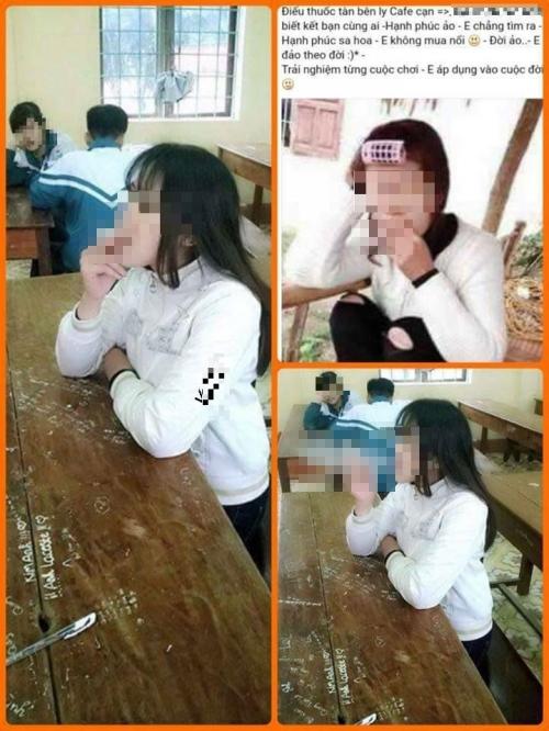 Hình ảnh phản cảm nữ sinh hút thuốc trong lớp học. Ảnh: Internet