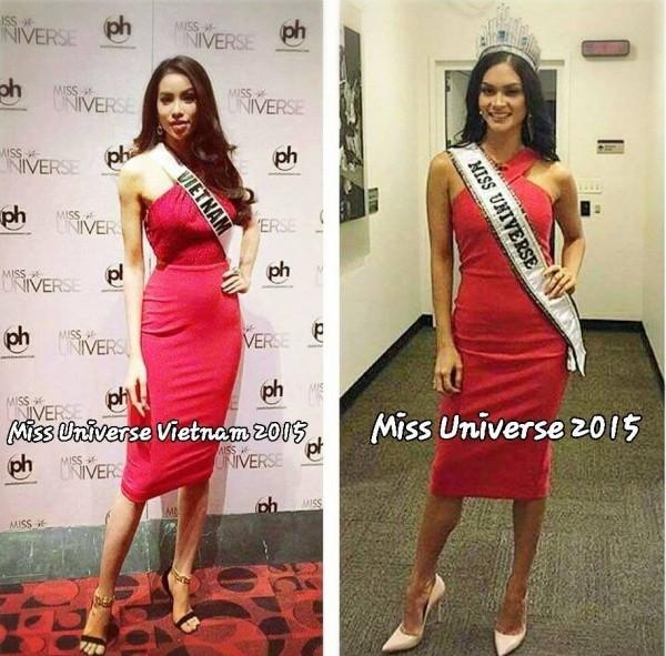 Trước đó, Phạm Hương cũng diện mẫu váy tương tự trong một buổi tiệc, trả lời phỏng vấn trước đêm chung kết Hoa hậu Hoàn vũ 2015.