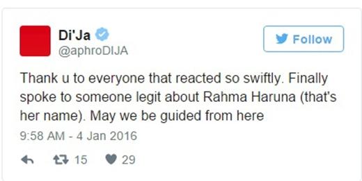 """""""Cảm ơn mọi người đã phản ứng cấp bách. Cuối cùng tôi cũng được nói chuyện với người phụ trách Rahma Haruna. Hi vọng từ đây ta sẽ tìm được lối đi."""" (Ảnh: Internet)"""
