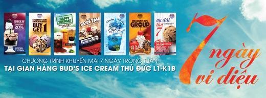 Từng bừng khai trương, áp dụng nhiều ưu đãi cho các ngày trong tuần tại Bud's Ice Cream Vincom Thủ Đức và Bud's Ice Cream Vincom Pearl Plaza.