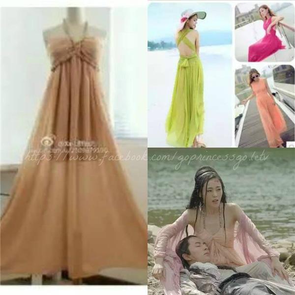 Bộ váy thanh thoát của thái tử phi Trương Bồng Bồng chỉ là váy đi biển bình thường được rao bán khắp các trang bán hàng bình dân. Điều đáng nói là chiếc váy này đang được giảm giá đến 50%, giáchỉ còn gần 300.000 đồng.