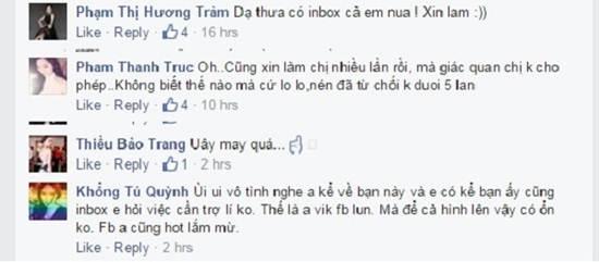 Ca sĩ Hương Tràm khẳng định K.N từng nhắn tincho cô xin làm trợ lí. Diễn viên Thanh Trúc cũng nhiều lần bị đối tượng này nài nỉ xin đi theo hỗ trợ nhưng do có linh cảm không tốt, cô đã liên tiếp từ chối.
