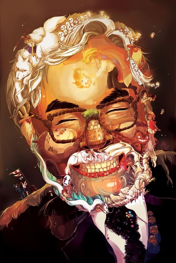 1. Chân dung ông trùm anime Hayao Miyazaki bên những đứa con tinh thần của mình.