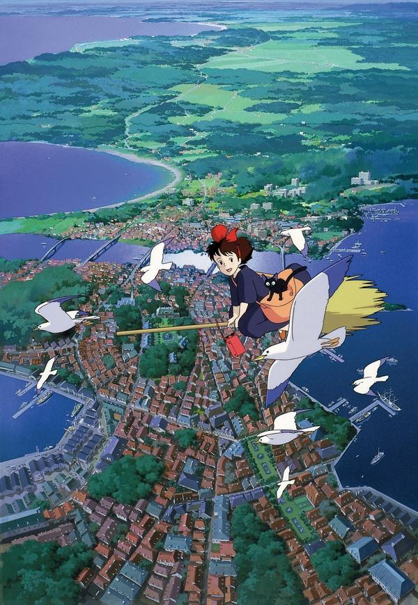 """9. """"Kiki's Delivery Service"""" (1989) được chuyển thể từ bộ tiểu thuyết cùng tên của Kadono Eiko. Bộ phim xoay quanh cô gái phù thủy tập sự Kiki."""