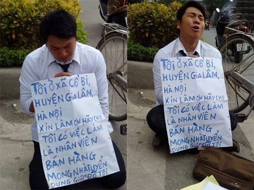Chàng trai quỳ gối xin việc trước cổng Đài truyền hình gây xôn xao dư luận