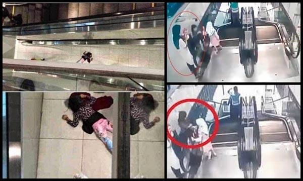 Bé gái 6 tuổibị thang cuốn đi và ngã xuống đất. Mọi người nhanh chóng đưa cô bé đến bệnh viện cấp cứu nhưng do vết thương quá nặng, không thể qua khỏi. Ảnh Internet
