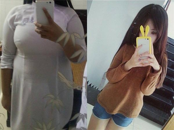 Bức ảnh thấy rõ sự thay đổi rõ rệt của Minh Anh trước và sau giảm cân
