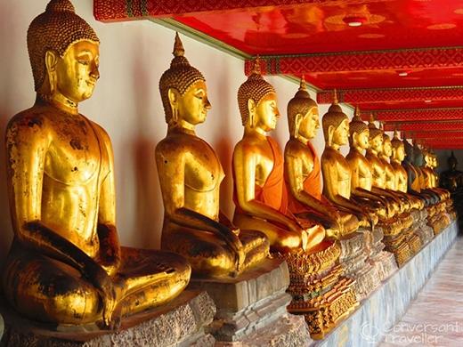 Các pho tượng Phật vàng tọa trên đài sentại đền Wat Pho, Bangkok. Ảnh:Conversanttraveller.