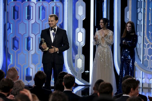 Leo nhận giải nam chính xuất sắc tại giải Quả Cầu Vàng 2016.(Ảnh: Paul Drinkwater)